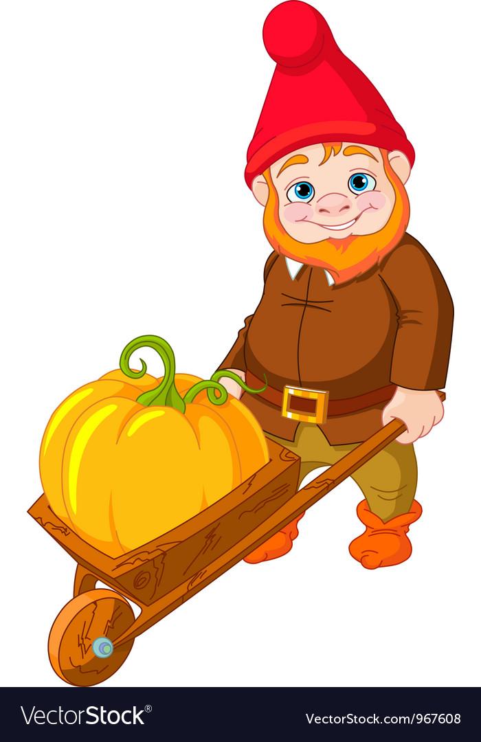 Garden gnome with wheelbarrow vector | Price: 3 Credit (USD $3)