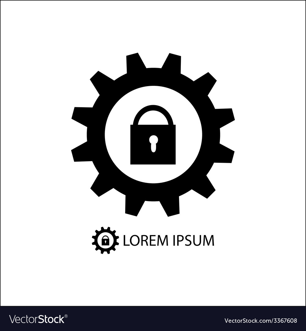 Gear wheel with lock as logo vector | Price: 1 Credit (USD $1)