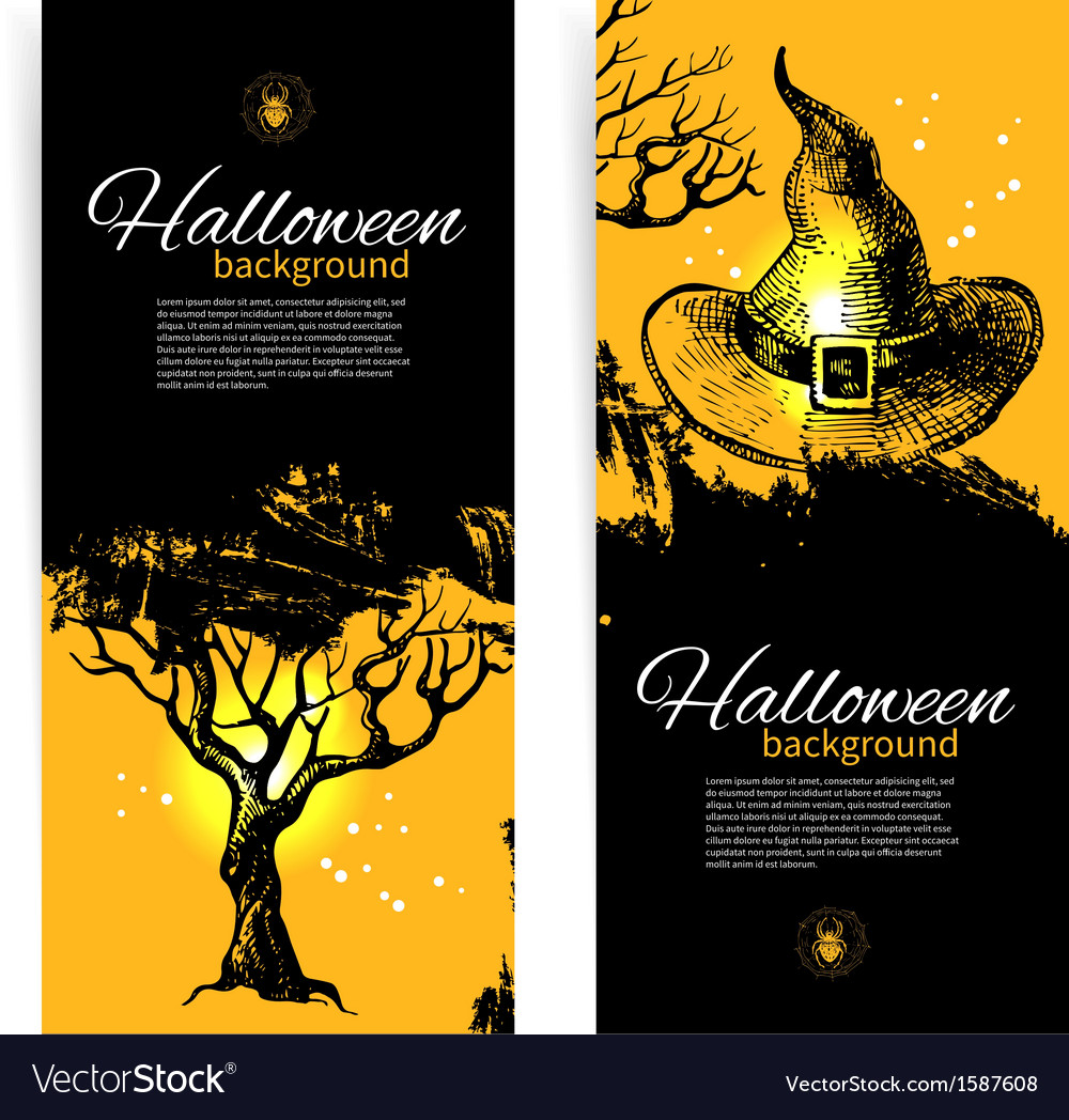 Hand drawn set of halloween banners vector | Price: 1 Credit (USD $1)