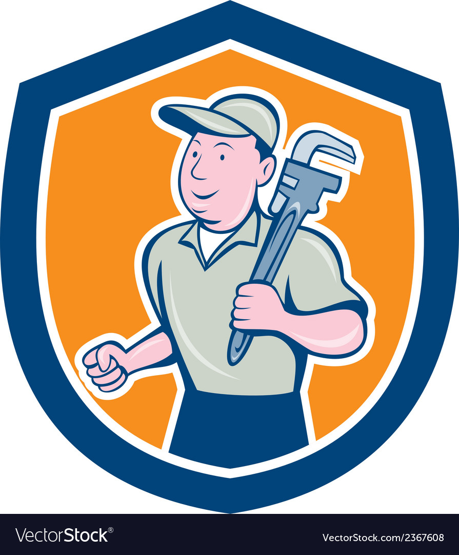 Plumber holding monkey wrench shield cartoon vector | Price: 1 Credit (USD $1)