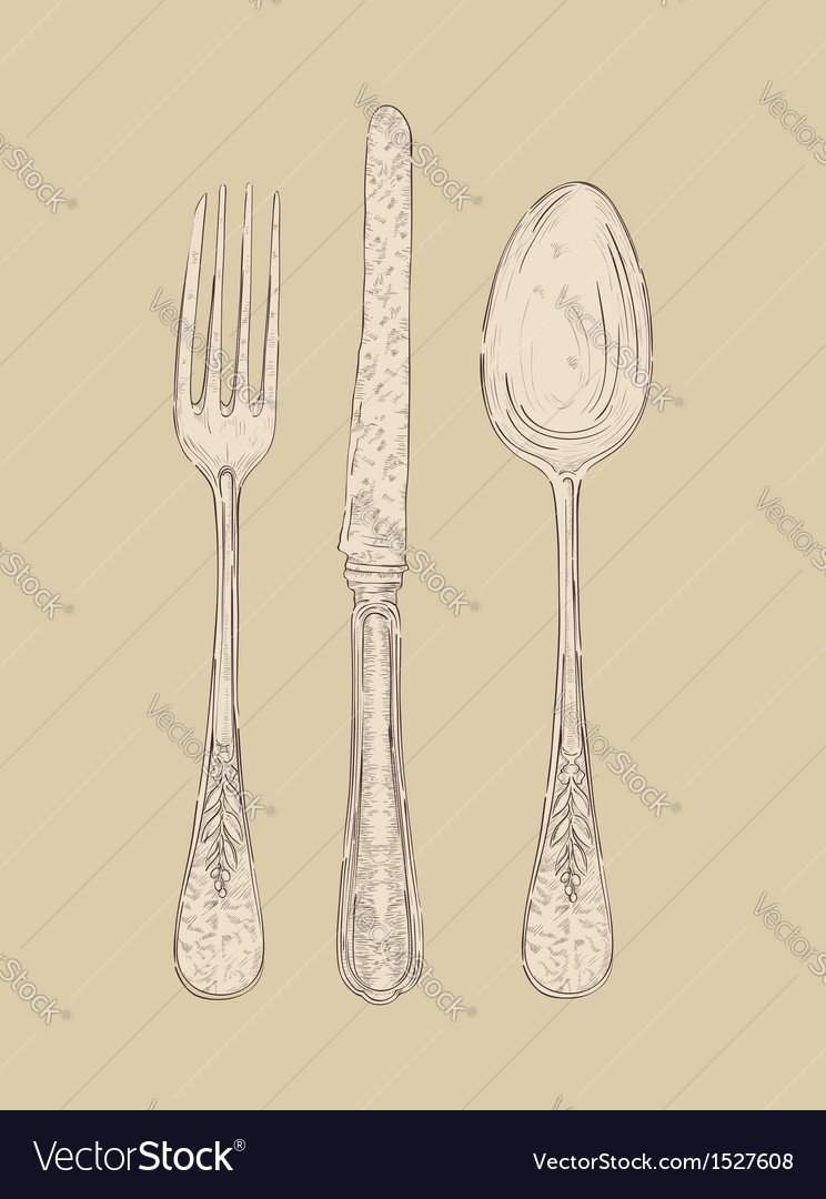 Retro cutlery set vector | Price: 1 Credit (USD $1)