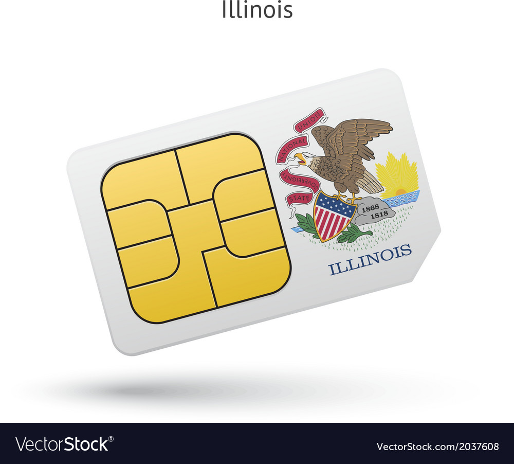 State of illinois phone sim card with flag vector | Price: 1 Credit (USD $1)