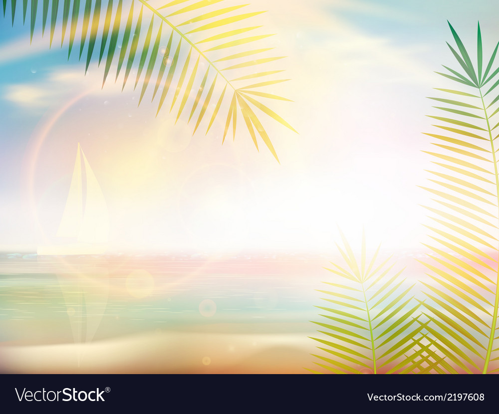 Sunrise on caribbean beach design template vector | Price: 1 Credit (USD $1)