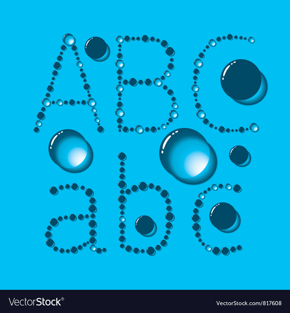 Water drop letters on blue new 01 vector | Price: 1 Credit (USD $1)