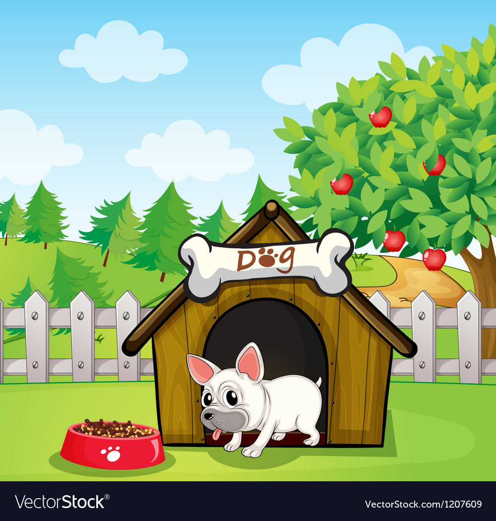 A bulldog outside its dog house with a dog food vector | Price: 1 Credit (USD $1)