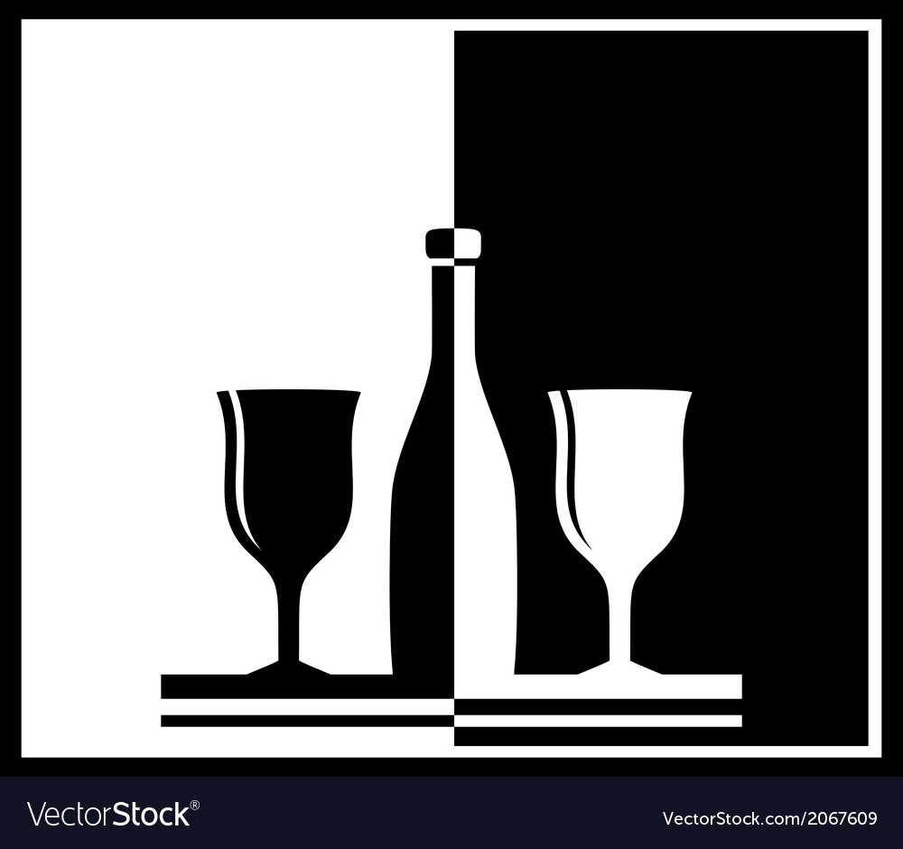 Black and white background with bottle and wine vector | Price: 1 Credit (USD $1)
