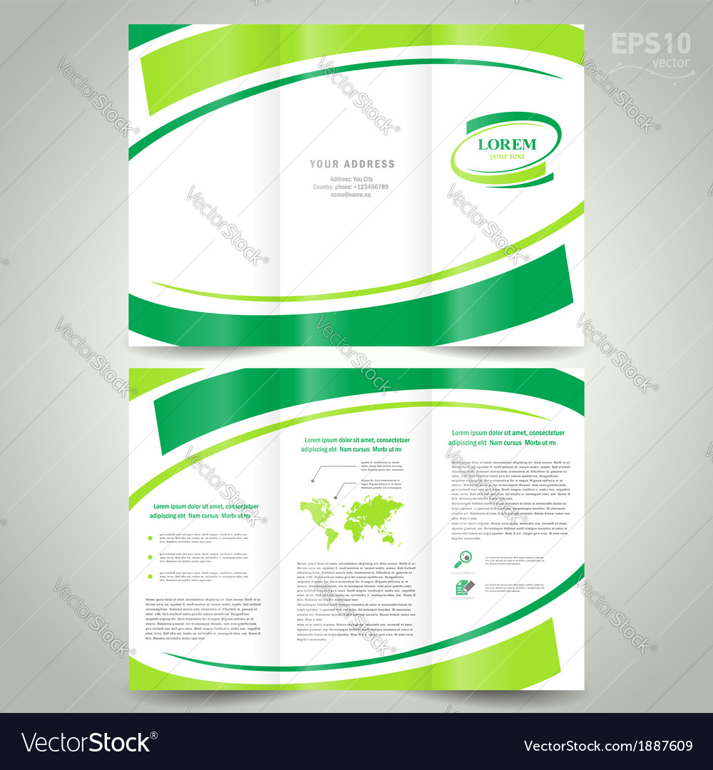 Brochure design template folder leaflet green vector | Price: 1 Credit (USD $1)