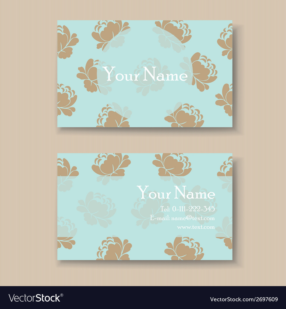 Business card with vintage flowers vector | Price: 1 Credit (USD $1)