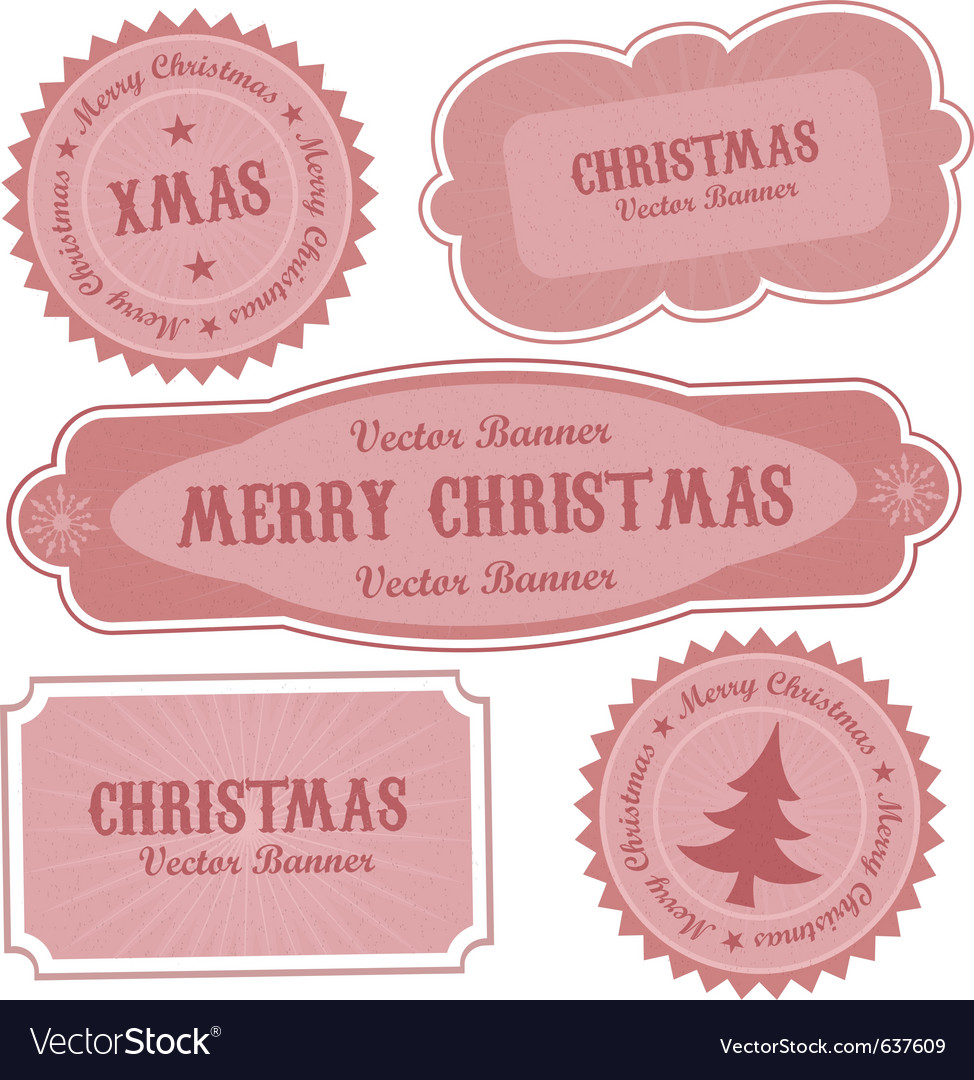 Christmas retro design labels vector | Price: 1 Credit (USD $1)