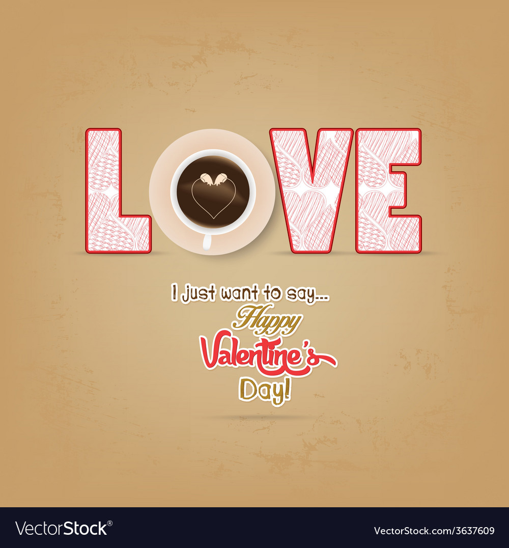 Cup of coffee with heart valentines day vector | Price: 1 Credit (USD $1)