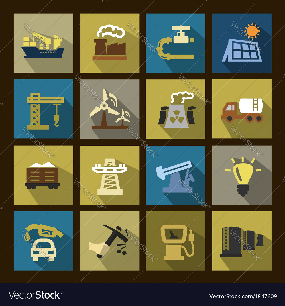 Industry icons set vector | Price: 1 Credit (USD $1)