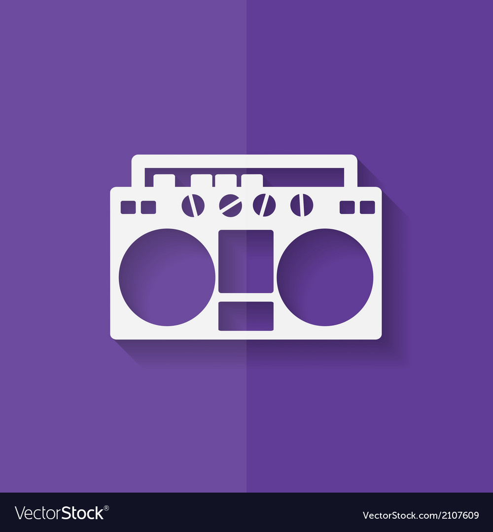 Retro tape recorder hipster style flat design vector | Price: 1 Credit (USD $1)