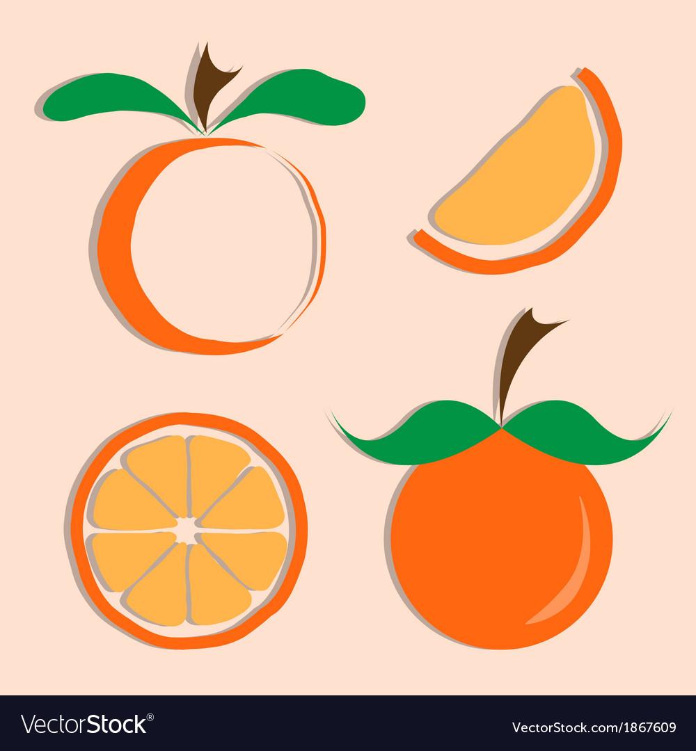 Set of orange icon vector | Price: 1 Credit (USD $1)