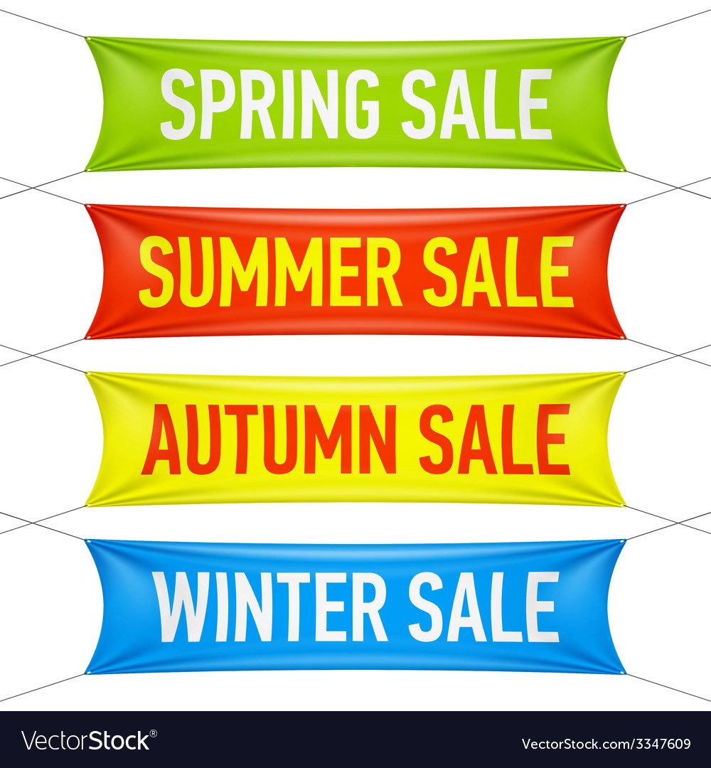 Spring summer autumn winter sale banners vector