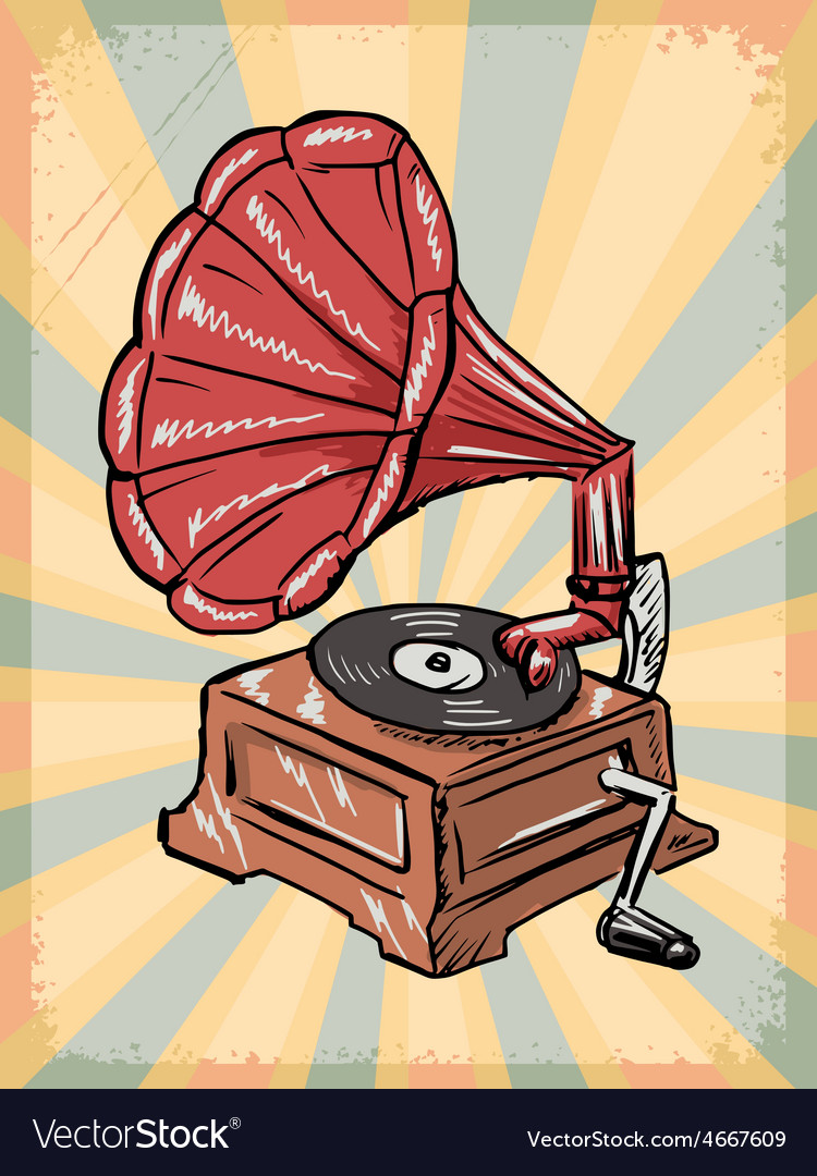 Vintage background with phonograph vector | Price: 1 Credit (USD $1)