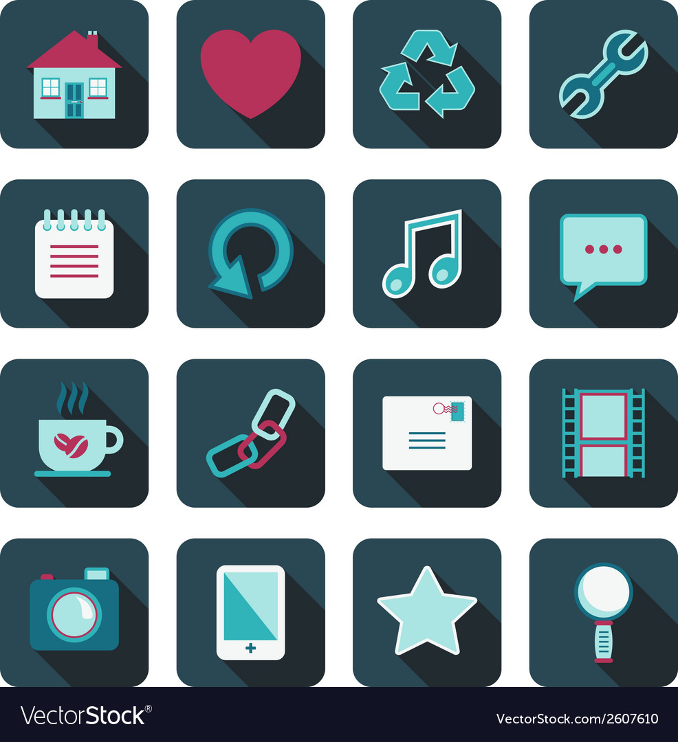 Blue media icons vector | Price: 1 Credit (USD $1)