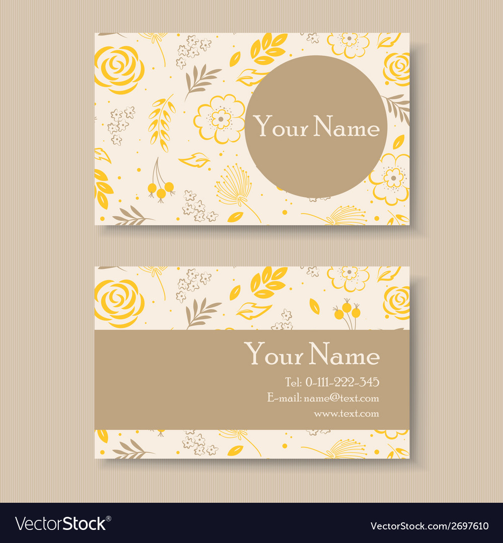 Business card with yellow floral background vector | Price: 1 Credit (USD $1)