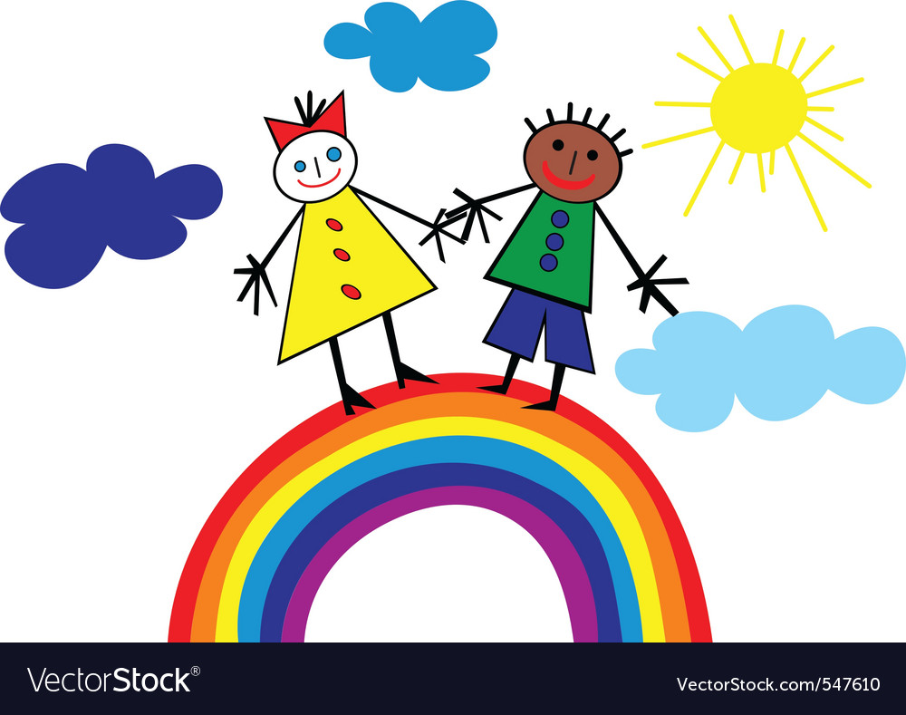 Child rainbow vector | Price: 1 Credit (USD $1)