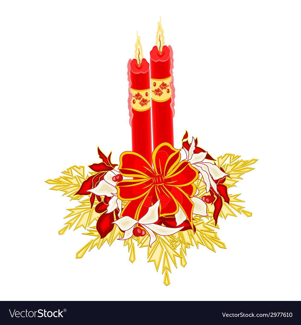 Christmas two candles with ribbon and poinsettia v vector | Price: 1 Credit (USD $1)