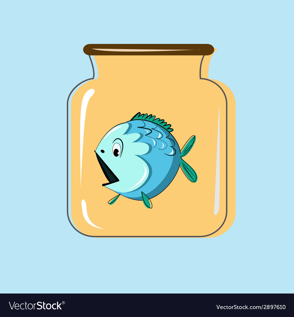 Glass jar with canning fish design vector | Price: 1 Credit (USD $1)
