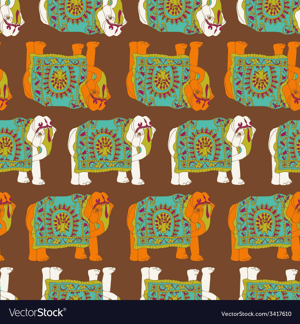 India elephant seamless pattern vector | Price: 1 Credit (USD $1)