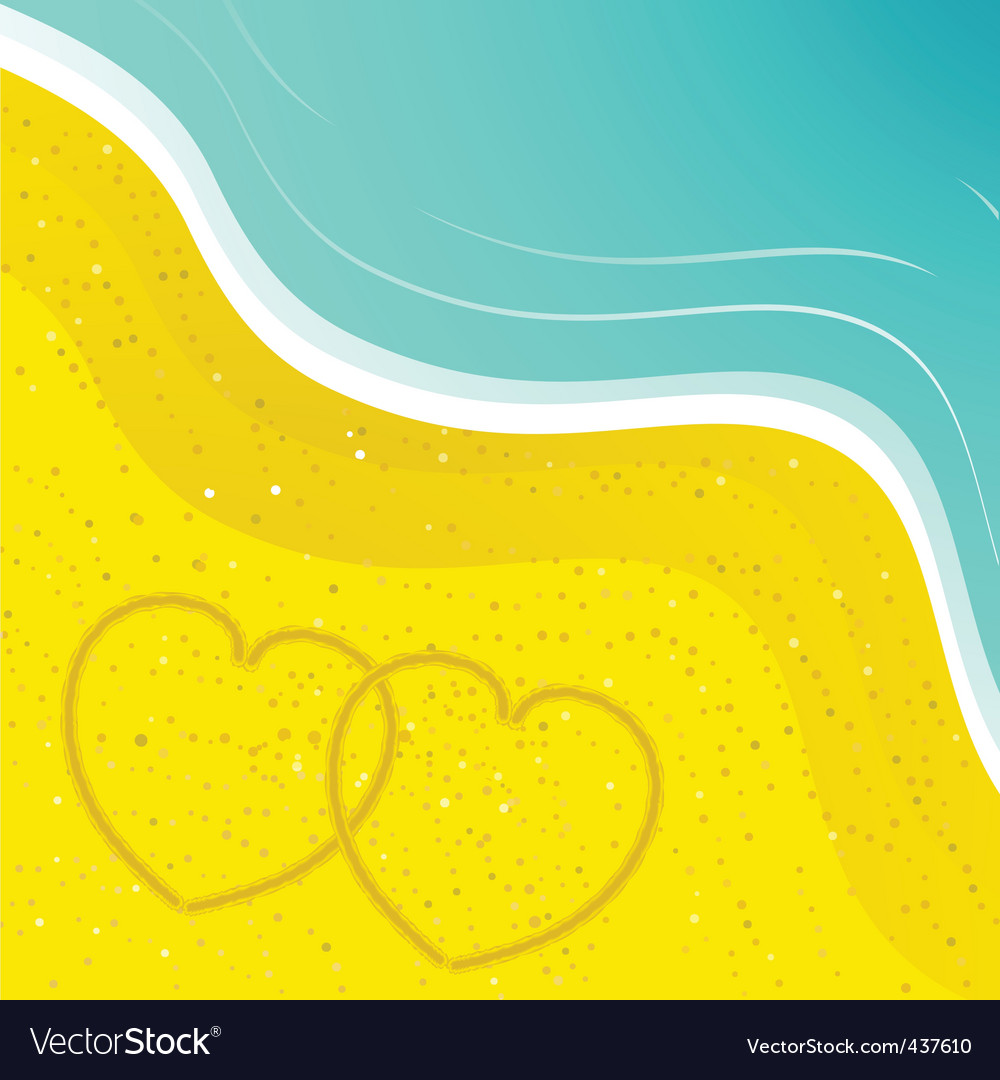 Love hearts in the sand vector | Price: 1 Credit (USD $1)