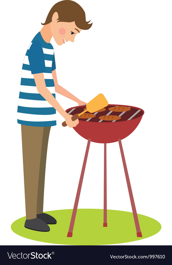 Man cooks barbecue vector | Price: 3 Credit (USD $3)