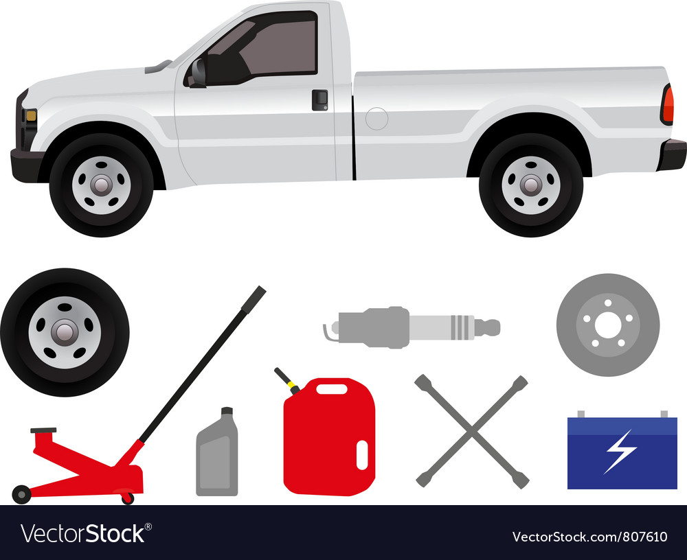 Pick-up truck with group of repair shop elements vector | Price: 3 Credit (USD $3)