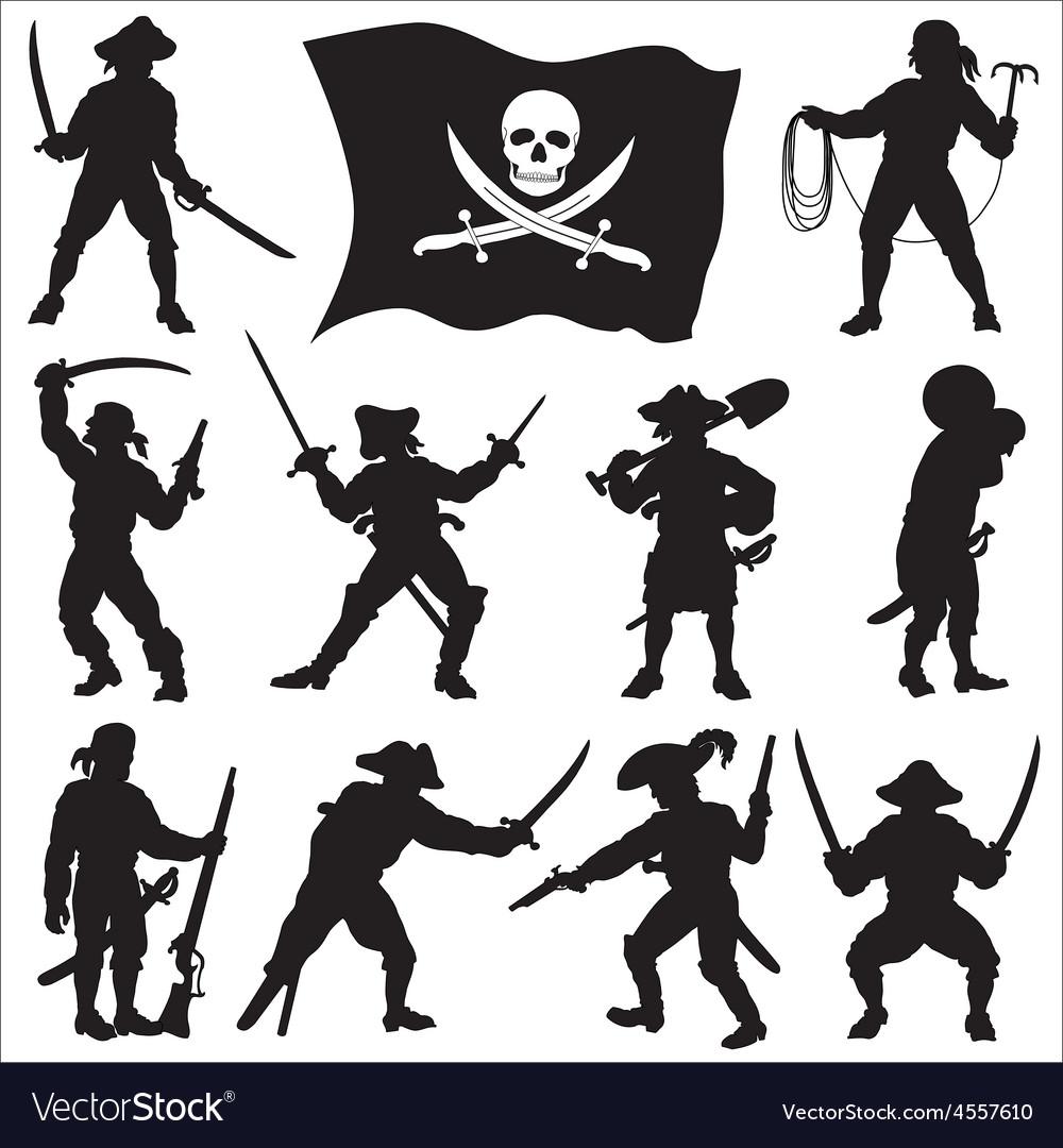 Pirates crew silhouettes set 2 vector | Price: 1 Credit (USD $1)