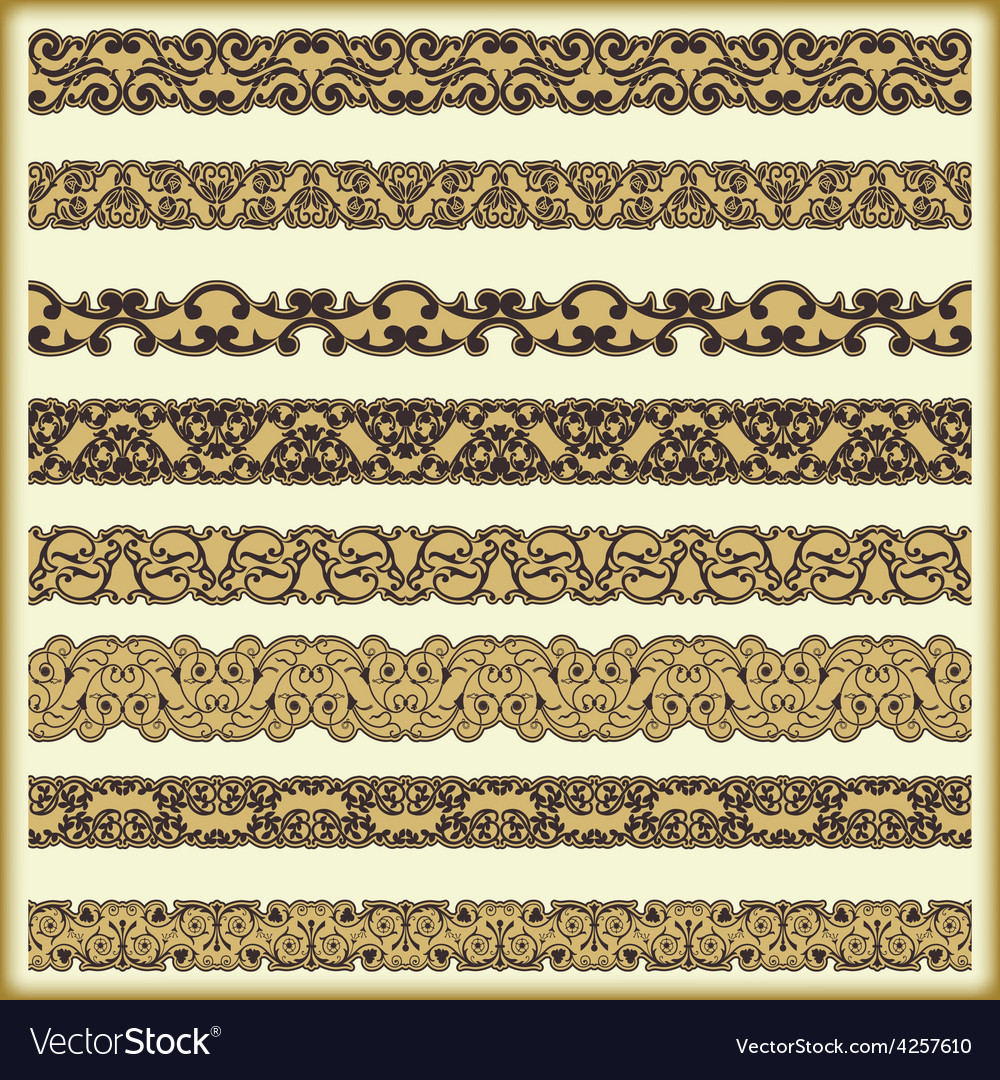 Vintage border set for design 14 vector | Price: 1 Credit (USD $1)