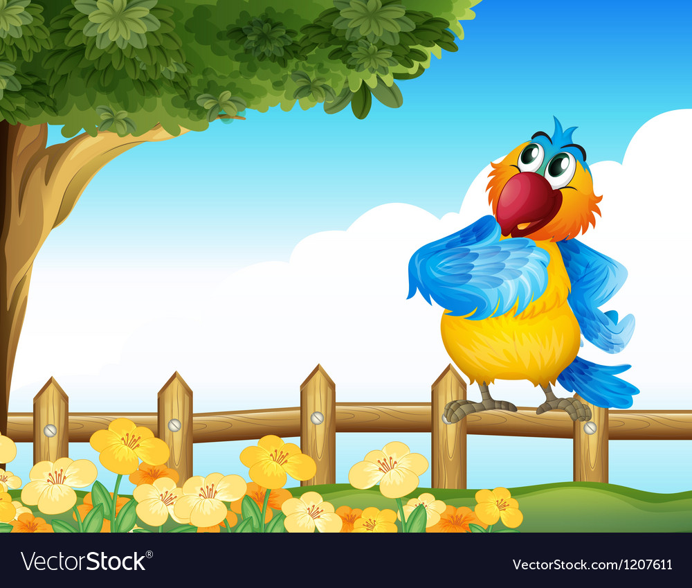 A colorful parrot at the backyard vector | Price: 1 Credit (USD $1)