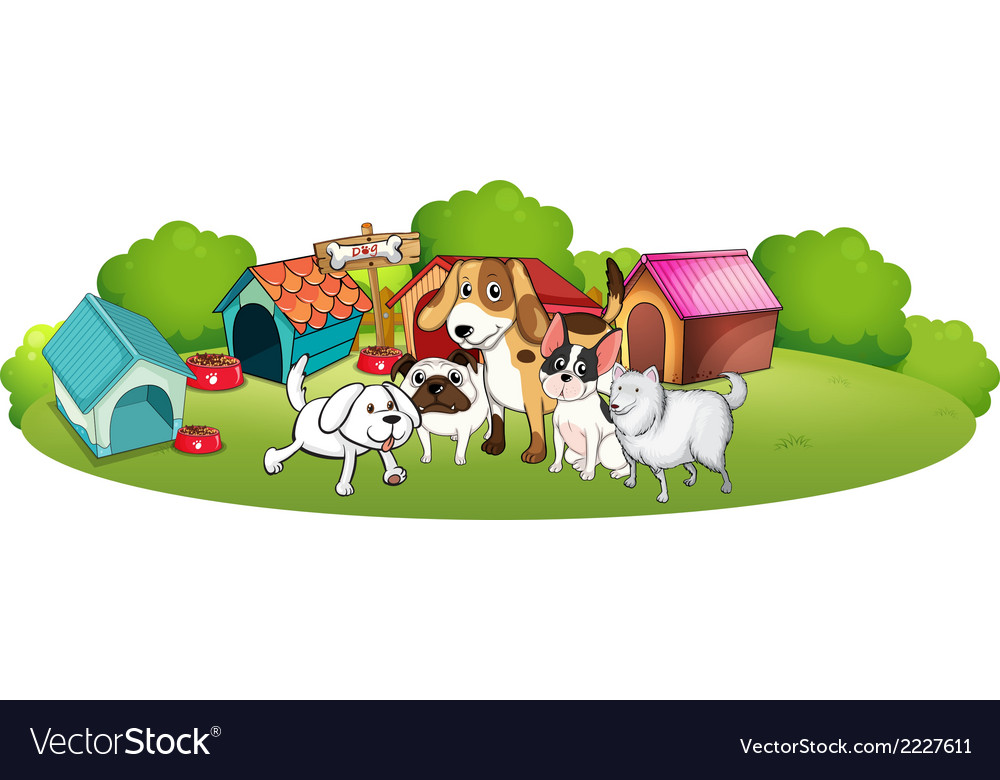 A group of dogs gathering in front of their house vector | Price: 1 Credit (USD $1)