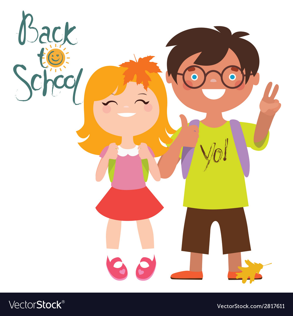 Back to school print design with two kids vector | Price: 1 Credit (USD $1)