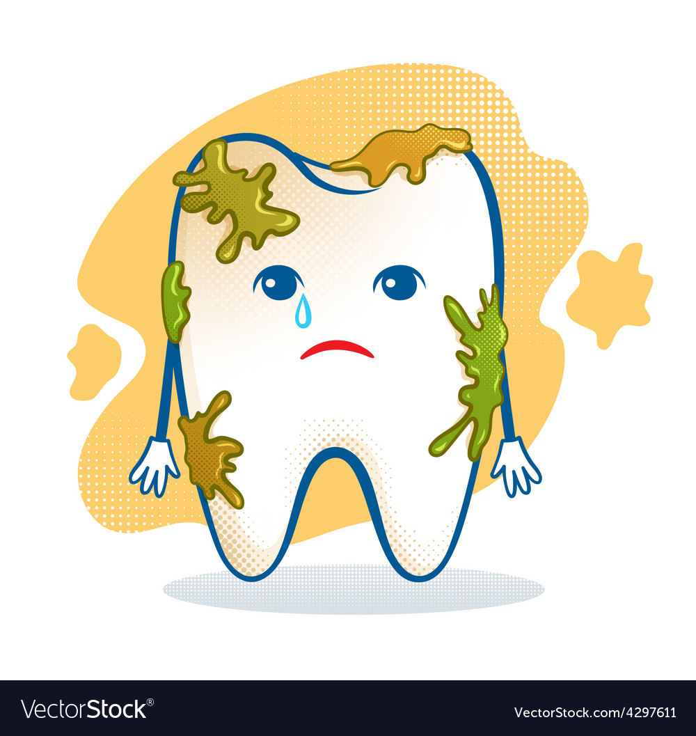 Cute aching tooth character vector | Price: 1 Credit (USD $1)