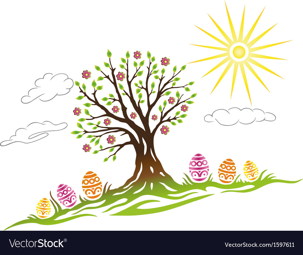Easter eggs tree vector | Price: 1 Credit (USD $1)