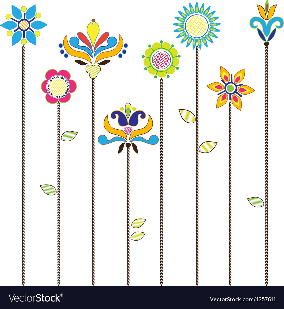 Flowers - folk elements embroidery vector | Price: 1 Credit (USD $1)