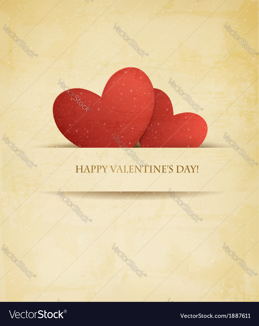 Holiday vintage valentines day background two red vector | Price: 1 Credit (USD $1)
