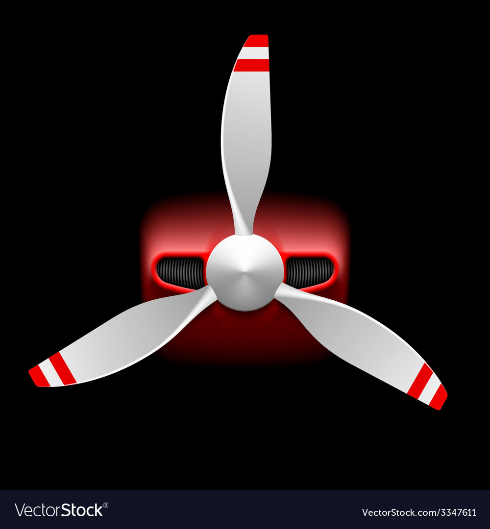 Light airplane with propeller on black vector | Price: 1 Credit (USD $1)
