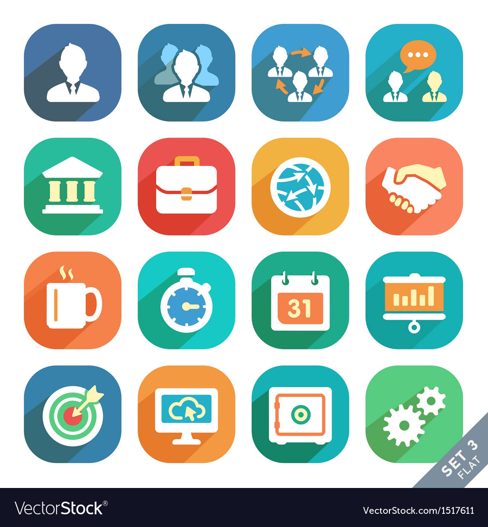 Office and business flat icons vector | Price: 3 Credit (USD $3)