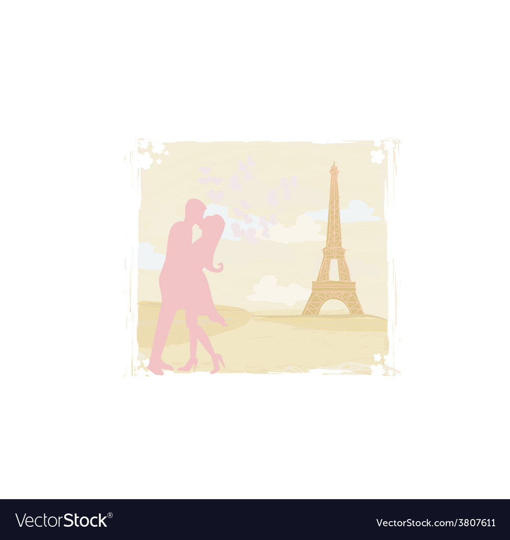 Romantic couple silhouette in paris kissing near vector | Price: 1 Credit (USD $1)