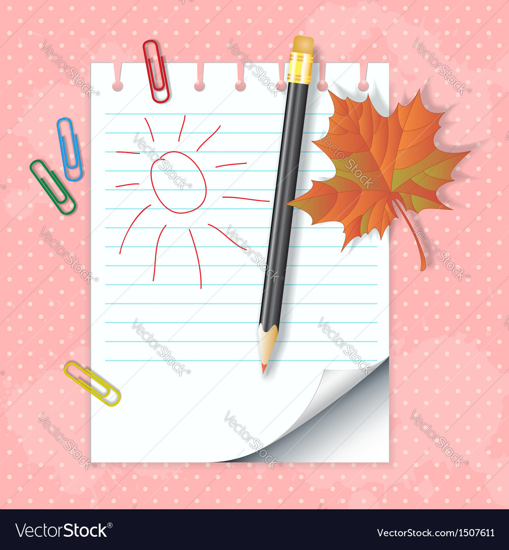 School notepad with pencil vector | Price: 1 Credit (USD $1)