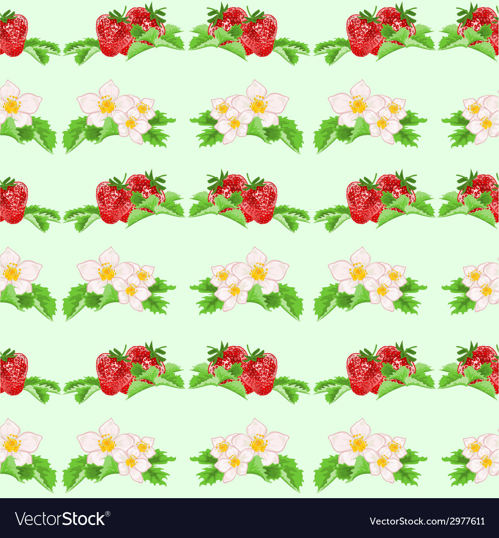 Seamless texture strawberries and flowers vector | Price: 1 Credit (USD $1)