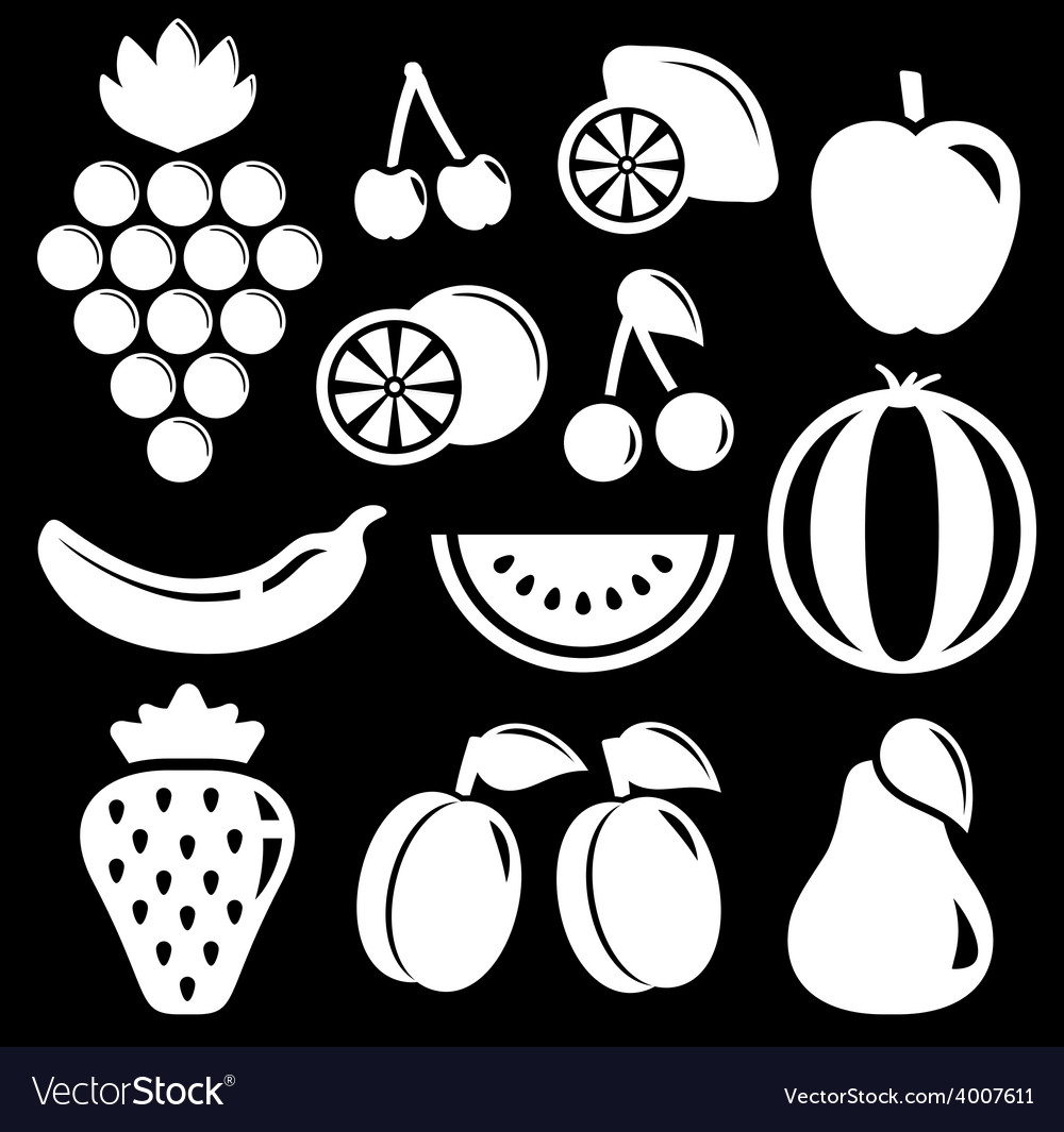 Set white fruit silhouette vector | Price: 1 Credit (USD $1)