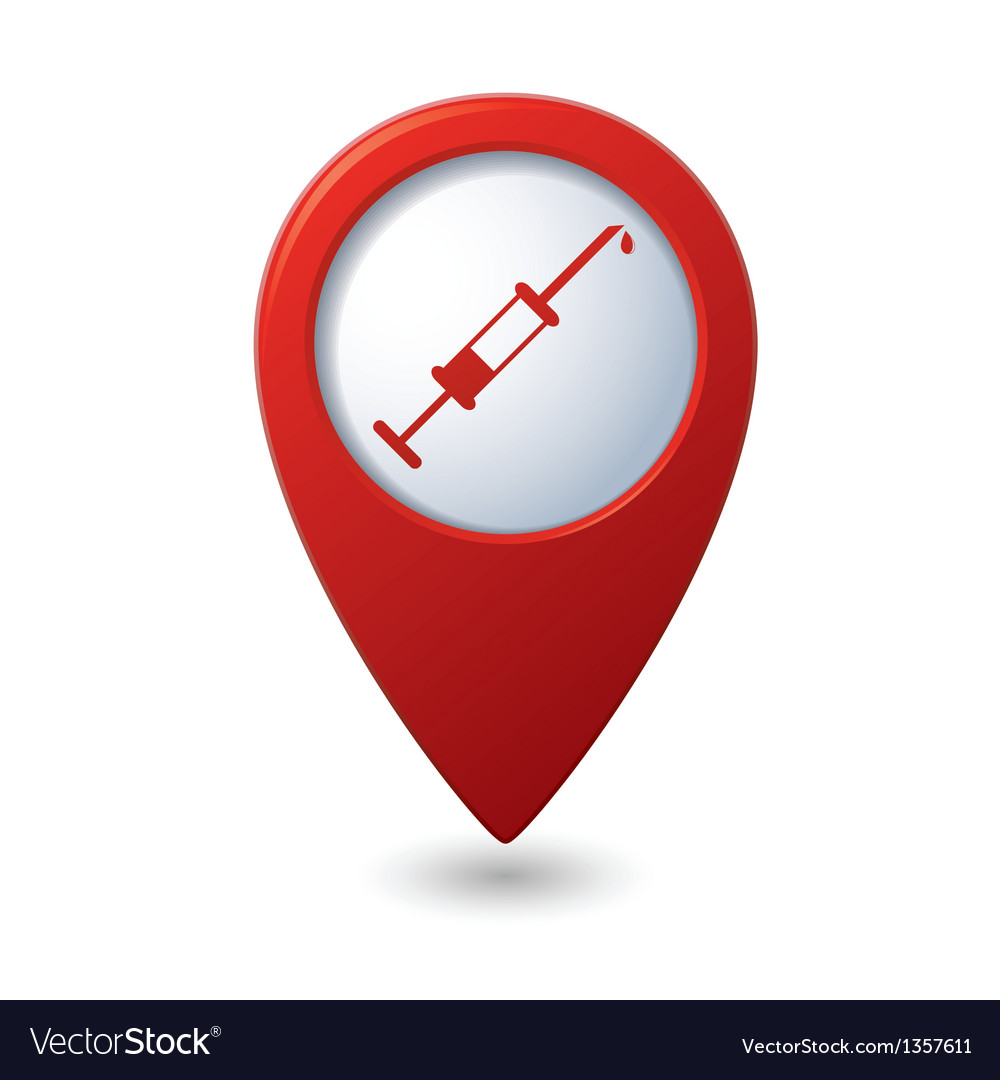 Syringe icon on red map pointer vector | Price: 1 Credit (USD $1)