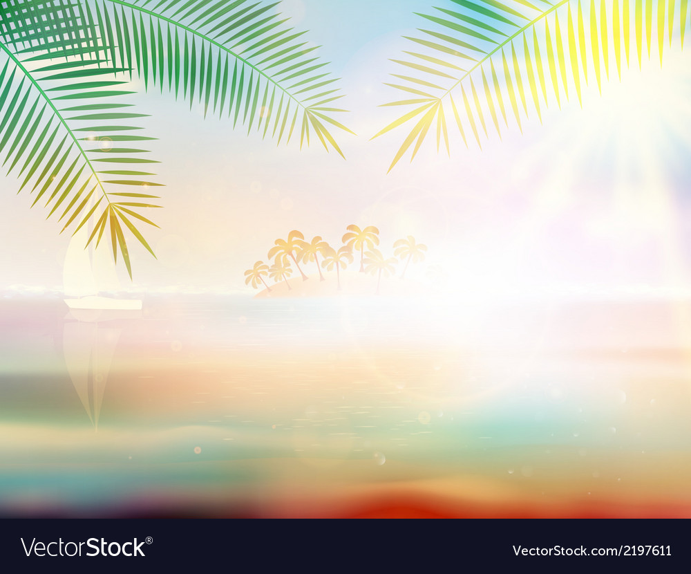 Tropical beach design template vector | Price: 1 Credit (USD $1)
