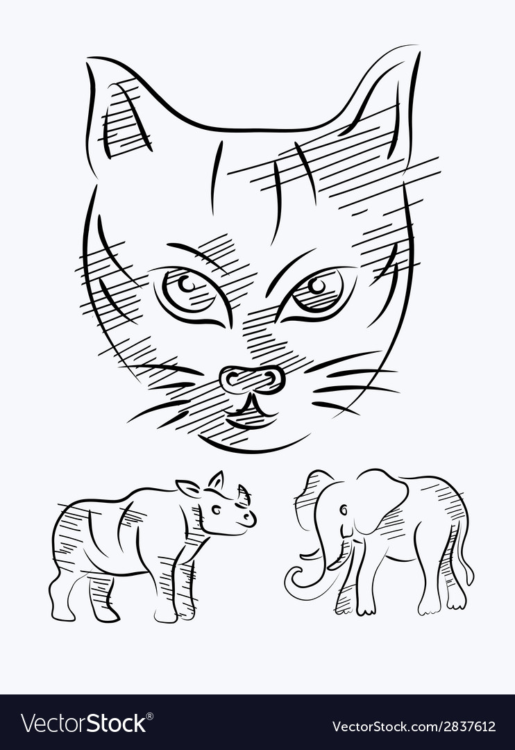 Animal sketch vector | Price: 1 Credit (USD $1)