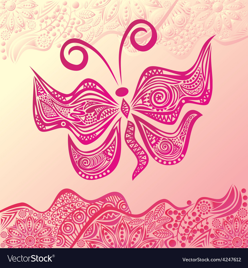 Beautiful pattern butterfly and nature background vector   Price: 1 Credit (USD $1)