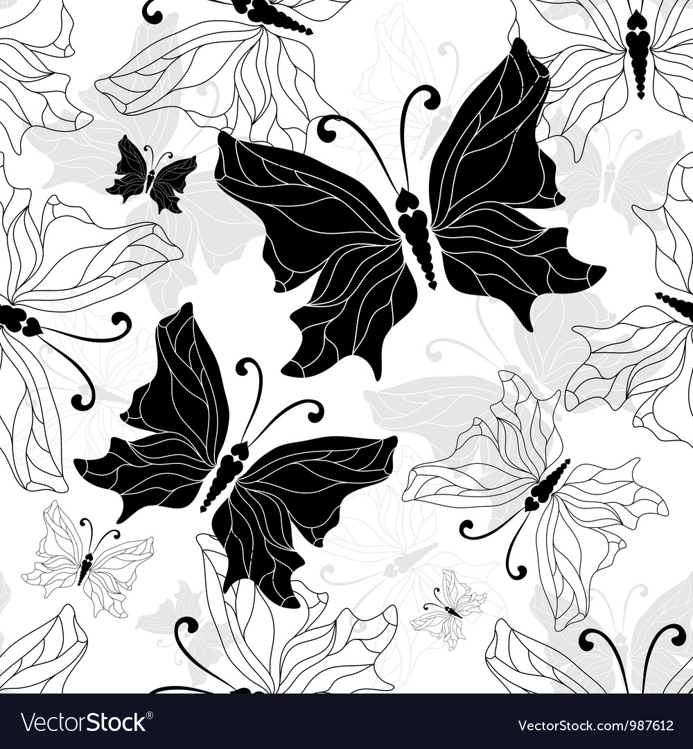Black white butterfly vector | Price: 1 Credit (USD $1)