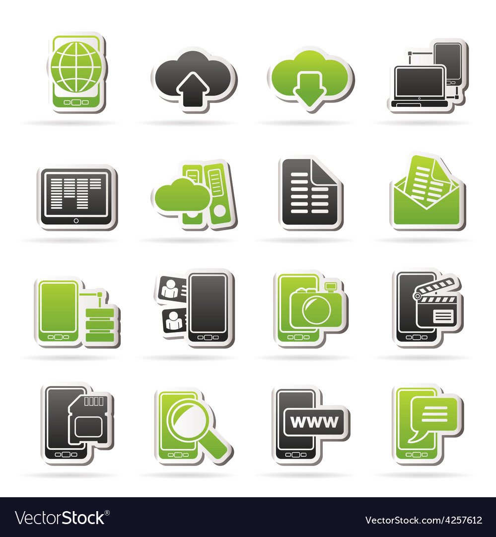 Connection communication and mobile phone icons vector | Price: 1 Credit (USD $1)