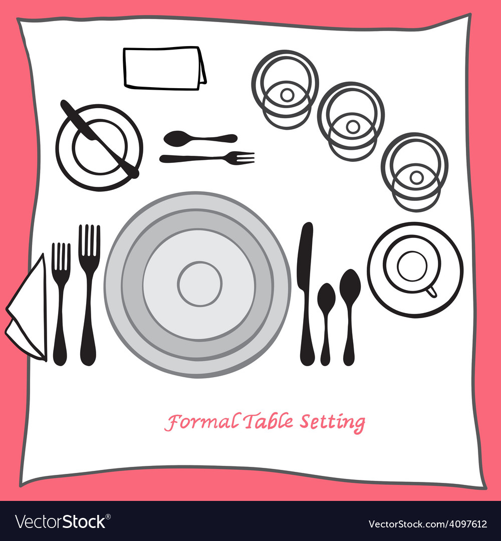 Dining table setting proper arrangement of vector | Price: 1 Credit (USD $1)